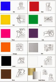 färger-arkiv - Tecken som stöd - Toppbloggare på Womsa Sign Language Games, Sign Language Colors, Sign Language Chart, Sign Language Phrases, Sign Language Alphabet, Baby Sign Language, American Sign Language, Educational Activities For Kids, Preschool Activities