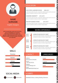 Orange-Black professional Resume/ CV/ Curriculum https://www.x5tuts.com/item/orange-black-professional-resume-cv-curriculum/ #resume #cv #curriculum #template #graphic #design #graphicdesign