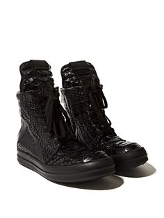 Rick Owens Women's Snakeskin Geobasket From SS14 In Black.