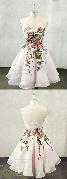 Light pink sweetheart neck tulle lace applique short prom dress #dresses#streetstyle#color