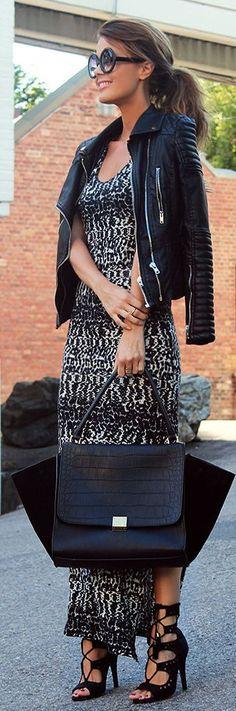 Nvrnkd Black And White Lightweigth Spotted Knee-high Split Maxi Tank Dress by Stylista- Via ~LadyLuxury~