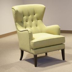 Flora Lime Yellow Button-tufted Accent Chair - Overstock™ Shopping - Great Deals on Living Room Chairs