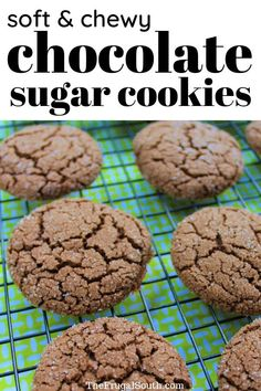 Get this easy chocolate sugar cookies recipe that is frugal and delicious! Soft chocolate cookies without butter when you need a cookie recipe made with vegetable oil instead of butter. Cocoa powder cookies and chocolate sugar cookies soft. Brownie Cookies, Cocoa Cookies, Easy Sugar Cookies, Cookies Soft, Powdered Sugar Cookies, Baby Cookies, Valentine Cookies, Shortbread Cookies, Cookie Recipes
