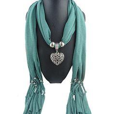 Sunward Womens Elephant Water Drop Owl Heart Pendant Tassel Charm Jewelry Scarf (Green Heart)