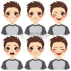 Un adolescent faisant six expressions faciales diff rentes r gl e Banque d'images