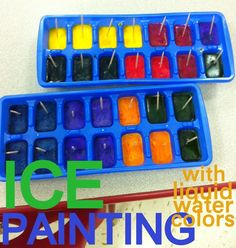 interesting - Ice Painting. There's s suggestion in the comments about using food colouring instead of water colours for kids that would try to eat them.