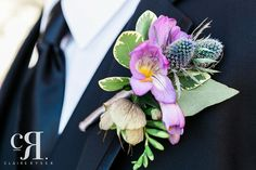 Boutonniere | Thistle | Purple Flower | Texture | Photo Credit - Claire Ryser Photography