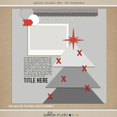Christmas Tree Template - Year of Templates Vol. 15 by Sahlin Studio - Digital scrapbook templates perfect for making pages in a snap!