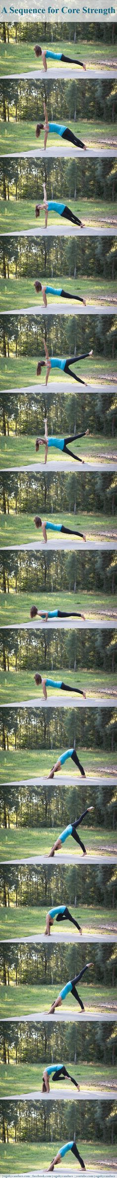 A yoga sequence for core strength you can do right from your home. Do it twice threw - 3-7 breathes each posture... definitely felt it!