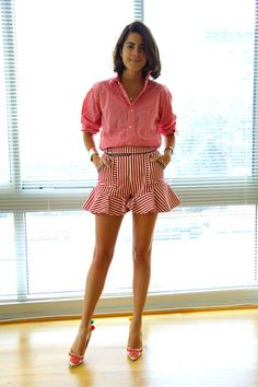 Leandra and her Three Floor shorts. fab with that shirt. #LeandraMedine #ManRepeller