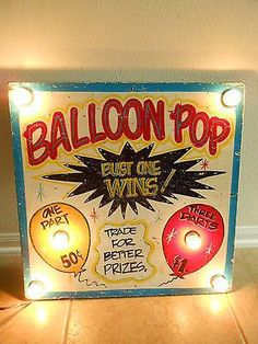 "vintage Carnival Games | Vintage Carnival Game Lighted Sign ""BALLOON POP"" Painted On Wood Rare ..."