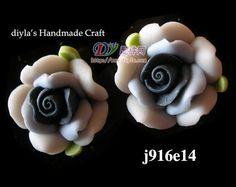 4pcs 14mm black Polymer Clay FIMO Flowers for Beads by diyla, $1.80