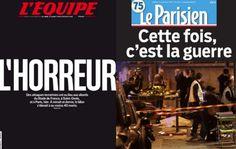 Montage photo des unes du Parisien et de L'Équipe demain, samedi 14 novembre 2015.