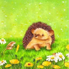 Nursery Art Hedgehog and Field Mouse by TinyRed on Etsy,