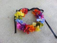 Rainbow Floral Headband/ Flower Crown. Coachella by DevineBlooms