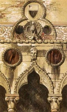 """Illustration for The Stones of Venice, 1851. """"Art is not a study of positive reality, it is the seeking for ideal truth."""" --John Ruskin"""