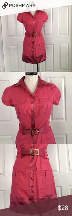 """Bebe Hot Pink Button Up Dress with Belt New no tag. Button up Bebe dress comes with the belt. Has two small front pockets at the bust and two larger size pockets at the hips. Contrasting trims at center front, bottom hem and collar. Cap sleeves, no lining. Material 96% cotton 4% spandex. Hand wash cold. Front length 32.5, waist  15"""", bust 18"""". Size medium bebe Dresses Mini"""