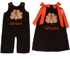 Thanksgiving Turkey Outfits - Brother Sister turkey longall, turkey dress