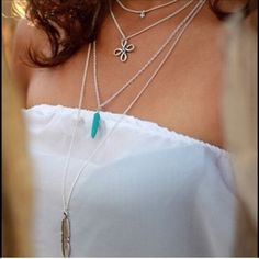 Bohemian 4 stand necklace This beautiful 4 stand necklace with complete any out fit features turquoise point Boutique Jewelry Necklaces