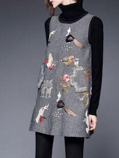 Embroidered Wool Mini dress by Silk Wei via @stylewe