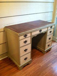 Vintage Desk with Leather Top - Vintage Desk, Painted Furniture, Painted Desk