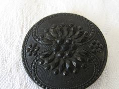 Large ANTIQUE Fancy Lacy Flower Black Glass BUTTON by abandc, $7.95