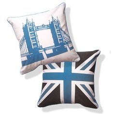 Naked Decor British Invasion Reversible Tower Bridge of London Pillow