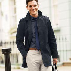 Navy bonded raincoat | Men's coats from Charles Tyrwhitt, Jermyn Street, London
