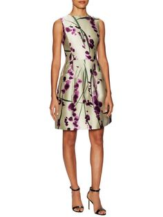 Silk Sleeveless Printed Flare Dress  by Oscar de la Renta at Gilt