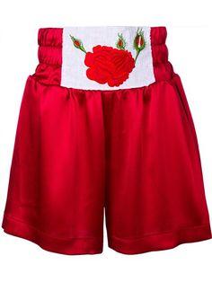 Natasha Zinko Rose Embroidered Boxing Shorts