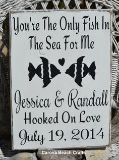Wedding Sign - Beach Wedding Sign - Wedding Decor - Rustic Wedding -  Fish Theme - Anniversary - Fish In The Sea - Personalized - Custom