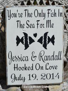 Wedding Sign - Beach Wedding Sign - Wedding Decor - Rustic Wedding - Fish Theme - Anniversary - Fish In The Sea - Personalized - Custom