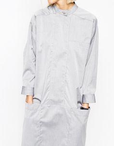 Image 3 ofASOS WHITE Batwing Placket Shirt Dress