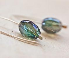 Modern Earrings Rainbow Mystic Quartz Argentium Sterling silver Woodland Green Emerald Minimalist Jewelry