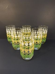 BLACK FRIDAY SALE - Retro Green White Yellow Heart Drinking Glasses, Vintage Kitchen, Retro Glassware