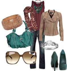 "I LOVE everything about this outfit!  well maybe not the glasses""Burgundy and Teal"" by heismygod on Polyvore"