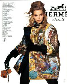 Timeless Fashion Nadja Auermann for Hermes Fall, 1992 90s Fashion, Fashion Models, High Fashion, Vintage Fashion, Fashion Trends, Fashion Inspiration, Patti Hansen, Lauren Hutton, Vogue