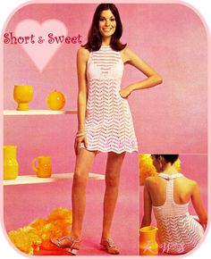 Vintage 70's Crochet Dress Pattern MINI PDF by KinzieWoolShop