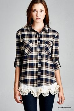 Rugged Romantic! Stay Warm with this Great Fall Flannel with a Romantic Cream Colored Lace Trim. Checkered casual shirt featuring unique lace detail around bott