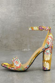 cc73420ccb99 The Veda Yellow Brocade Ankle Strap Heels are here to impress! Beautiful  brocade fabric shapes