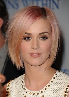Trendy Short Haircuts 2013: Katy Perry Layered Short Sleek Pastel Bob Hairstyle