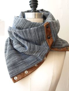 Navy and white circular infinity scarf by RunSystem63 on Etsy - This scarf is really interesting. I don't usually wear leather, but I really do love the design!