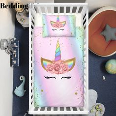 Have you seen a crib bedding cover this beautiful? This stunning crib bed set includes a quilt cover & 1 pillowcase. Girls Bedding Sets, Nursery Bedding Sets, Unicorn Lashes, Unicorn Bedroom, Girl Nursery, Decoration, Pink, Cot, Girl Bedrooms