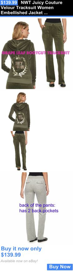 Women Athletics: Nwt Juicy Couture Velour Tracksuit Women Embellished Jacket Pants Xs,S, M, L, Xl BUY IT NOW ONLY: $139.99