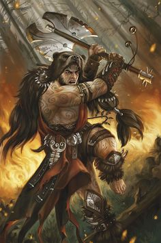 Berserkers were fierce Norse warrior who wore pelts into battle of the animal they channeled (they were said to fight like the lean bears). They went into a frenzied rage, unable to tell friend from foe. Berserkers could not be harmed by fire, or iron.