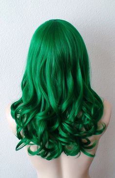 Green wig. Irish green wig. Dark green hair. Emerald by kekeshop