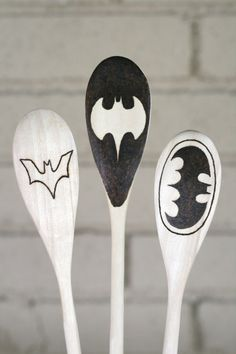 Batman Logo Wooden Spoons Set of Three by BlessingFalls on Etsy - Men's gift
