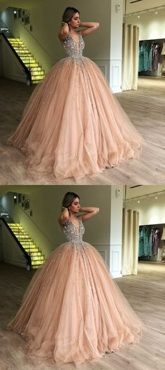 Ballkleid Sweet 16 Abendkleid V-Ausschnitt Abendkleid Quinceane Abendkleid Hochzeits-Outfit Girls Fancy Dresses, Pink Prom Dresses, Sweet 16 Dresses, Dresses For Teens, Pretty Dresses, Formal Dresses, Elegant Dresses, Awesome Dresses, Wedding Dresses