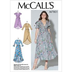 New Sewing Pattern Women's Wrap Dress Pattern, Lined Wrap Dress Pattern, High Low Wrap Dress Pattern, McCall's Sewing Pattern 7801 by on Etsy Easy Sewing Patterns, Mccalls Sewing Patterns, Clothing Patterns, Dress Patterns, Pattern Sewing, Apron Patterns, Fall Patterns, Miss Dress, Simple Dresses