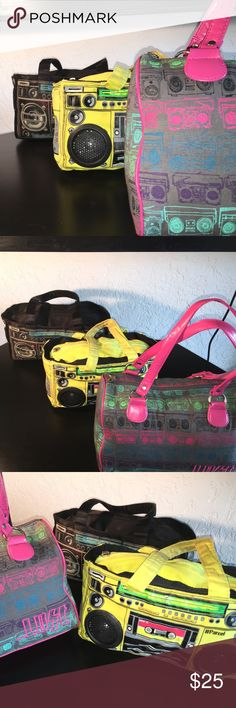 Boom Box Bundle Lost bowler purse with boom box print NWOT. Parcel back boom box, used a lot. Yellow parcel boom box purse with working speakers, you can plug in any device with a headphone jack, very used. And twist racer back tank top with boom box print size M NWOT. Bags Shoulder Bags